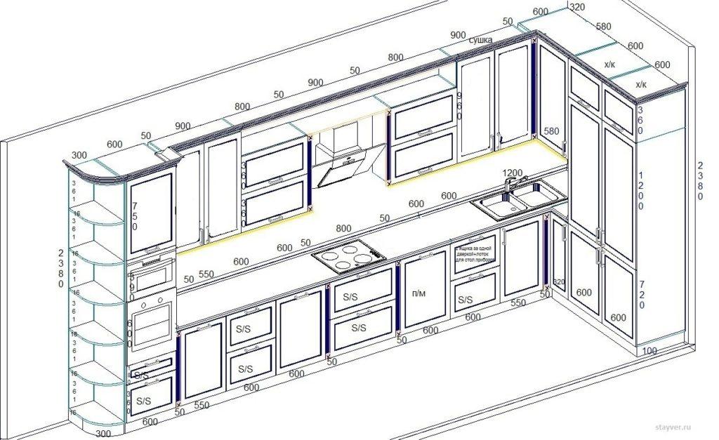 При составлении общих чертежей кухни с деталировкой размеров все детали не отображаются, но при проектировании учитывается определенный стандарт, понятный всем