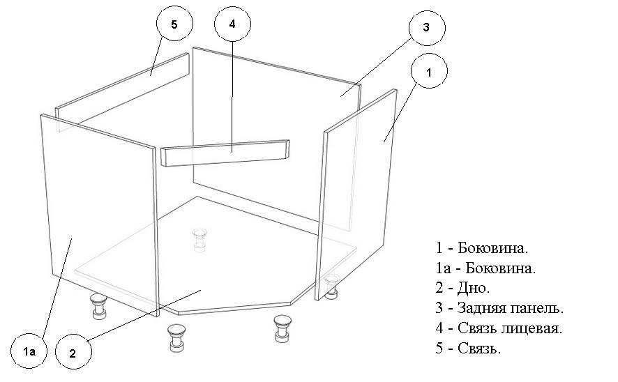 На чертежах отдельных секций кухонного гарнитура каждая деталь видна