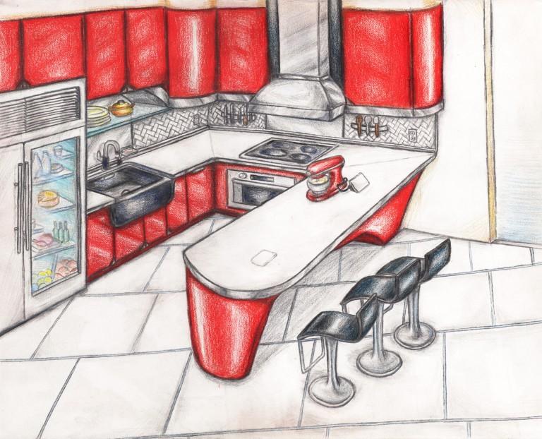 Перед созданием проекта делаются наброски, создается эскиз привлекательного мебельного изделия.