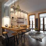 Отсутствие тумбочек под столешницей и использование одной металлической ножки делает кухню более открытой воздушной.