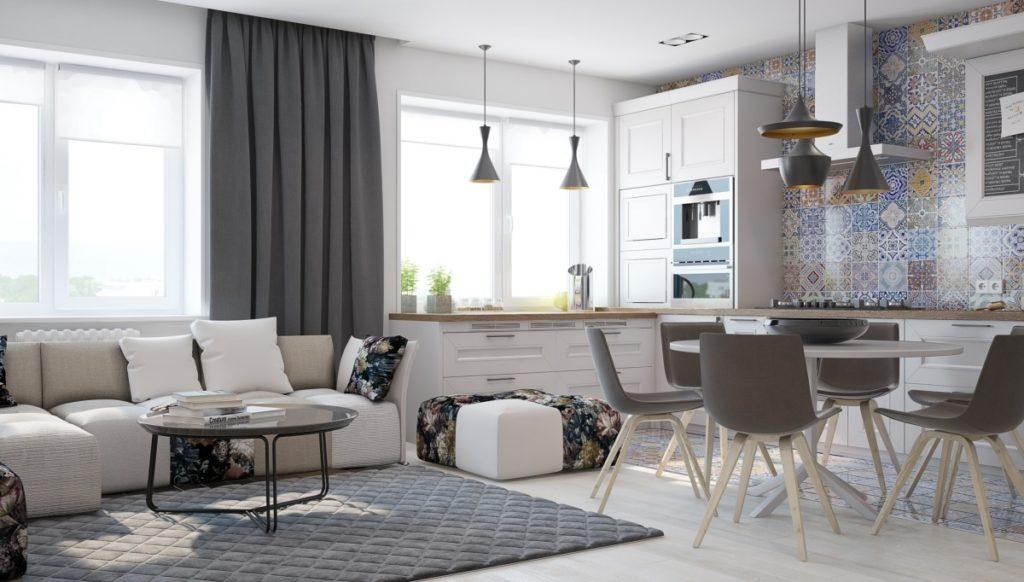 Интерьер кухни-гостиной в частном доме оформляется в спокойных нейтральных тонах.