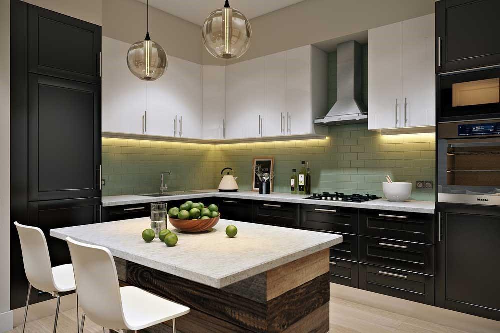Совмещение матовых поверхностей на кухне сегодня в тренде.