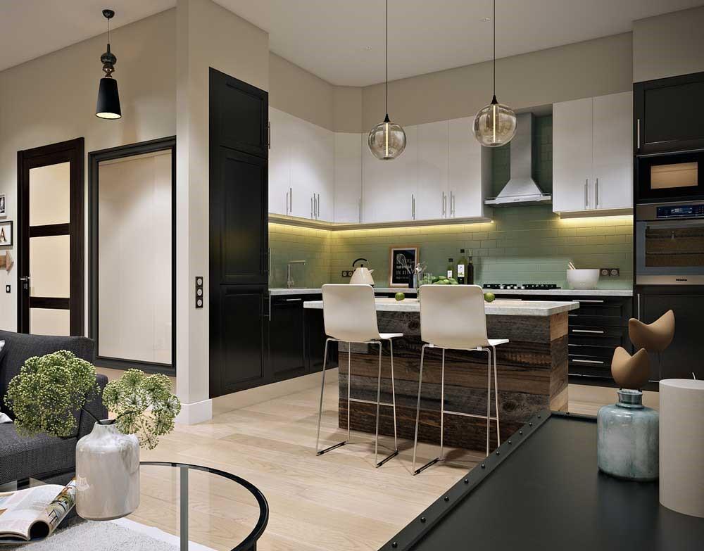 Открытая вытяжка и фартук в виде голого кирпича дополняет мебель в загородном доме.