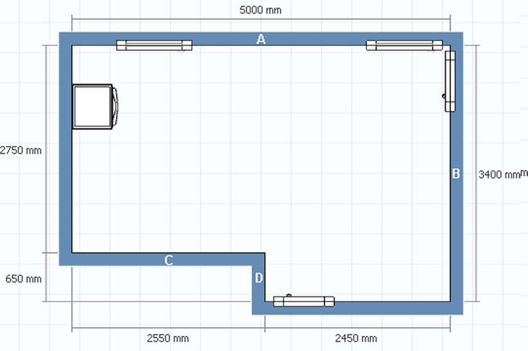 Сначала разрабатывается простая схема кухни, на которой отображаются габариты помещения