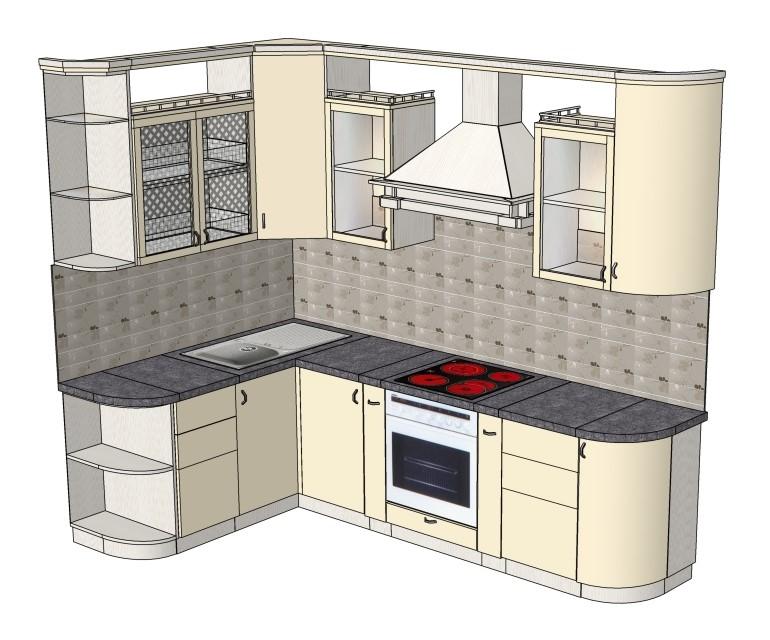 После выбора места расположения основных элементов кухни подбираются секции для верхнего и нижнего яруса