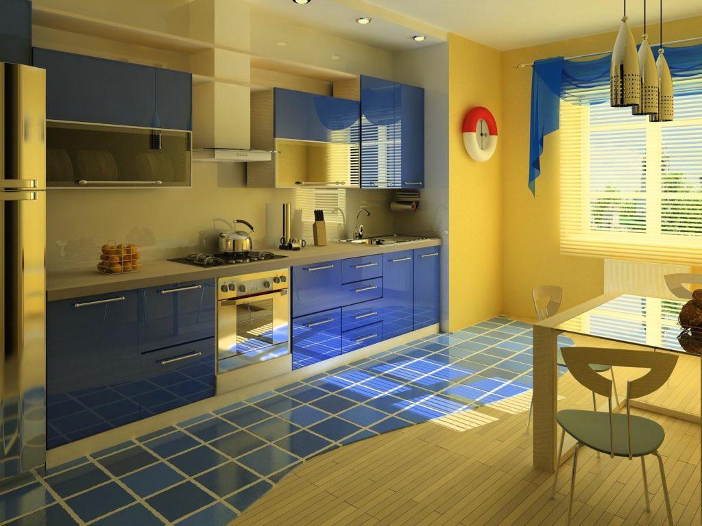Желто-синяя кухня в современном дизайне