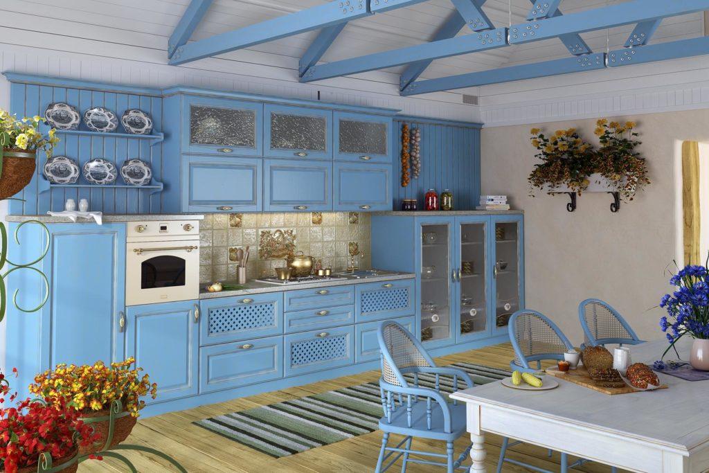 Синяя кухня с декором растениями