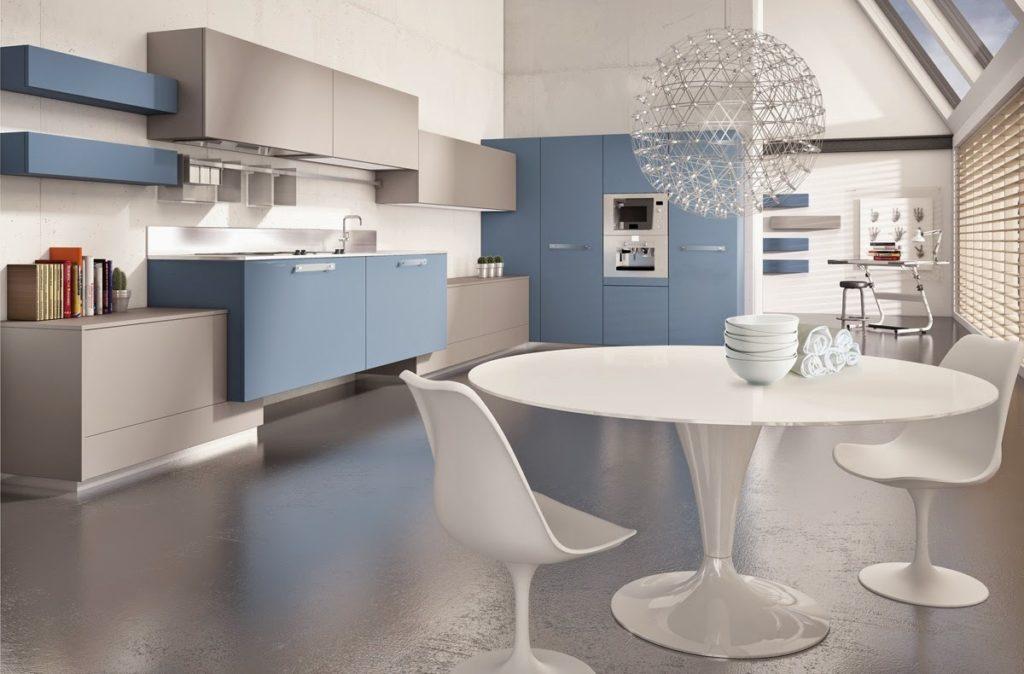 Серо-синяя кухня в стиле хай-тек