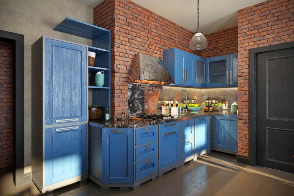 Синяя кухня с кирпичными стенами