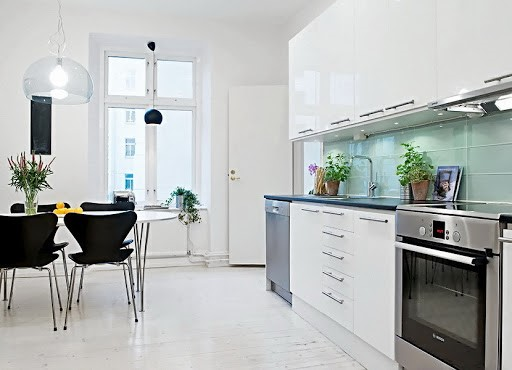Кухня белый глянец в современном стиле - оформление дизайна и интерьера