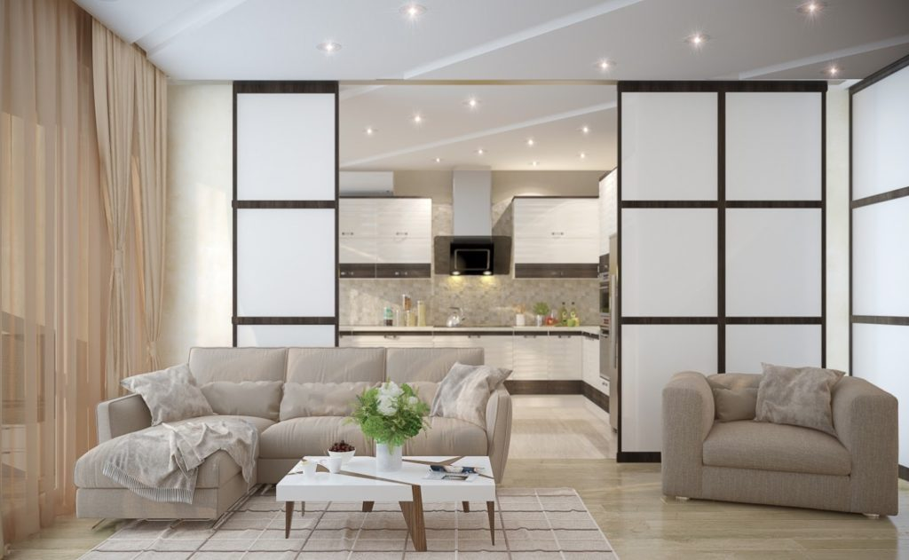 Выполняется частичная изоляция помещения с помощью раздвижных панелей, ширм, низких стенок