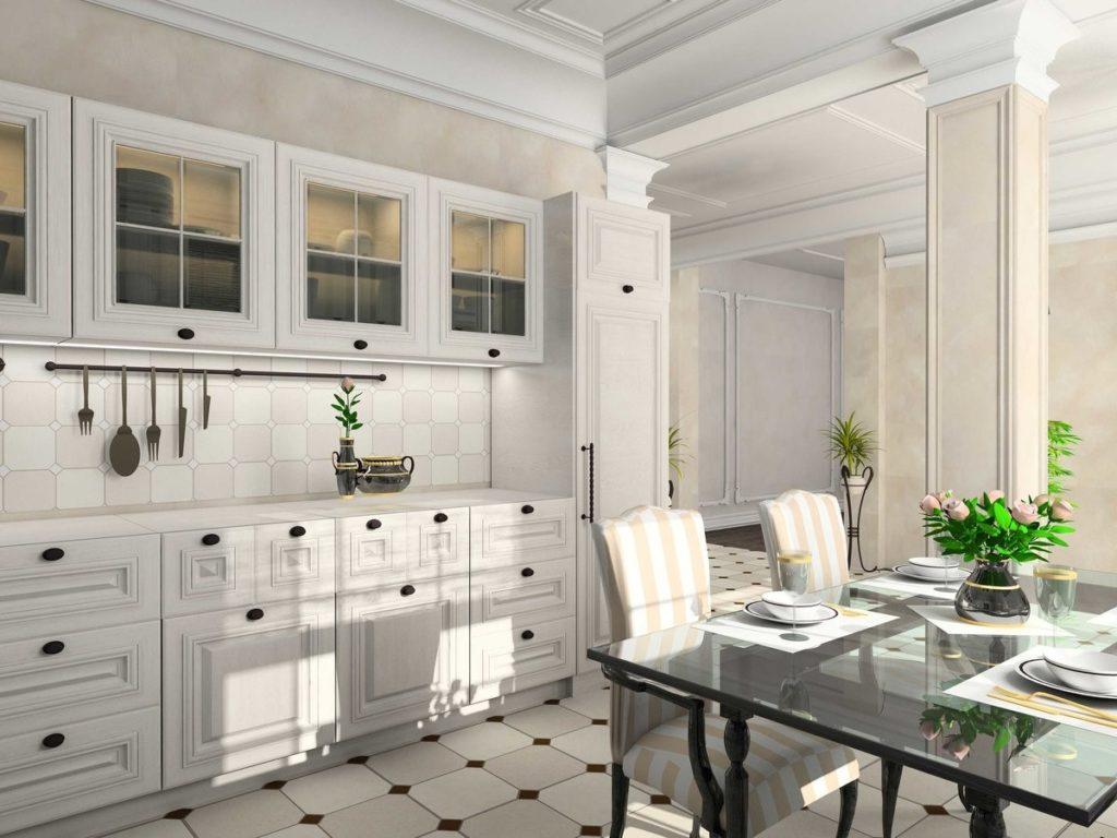 Классический стиль рекомендуется применять на просторных кухнях