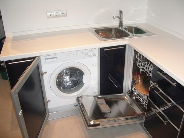 Высота стиральной машины не должна превышать размеры тумбочек