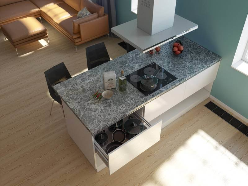 Вместо обычного стола применяются столешницы, которые можно переоборудовать под островок