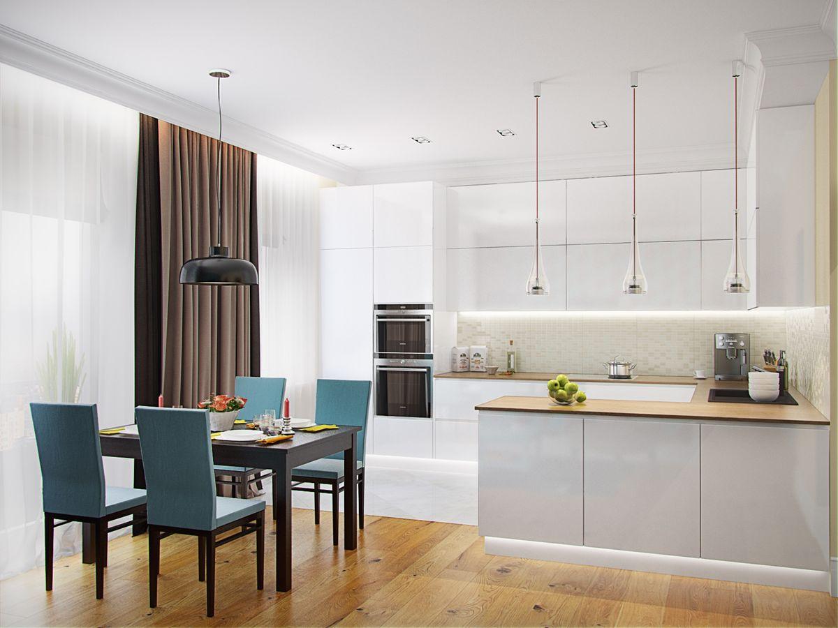Дизайн кухни - гостиной 15 кв м - вариант планировки с диваном и зонирования