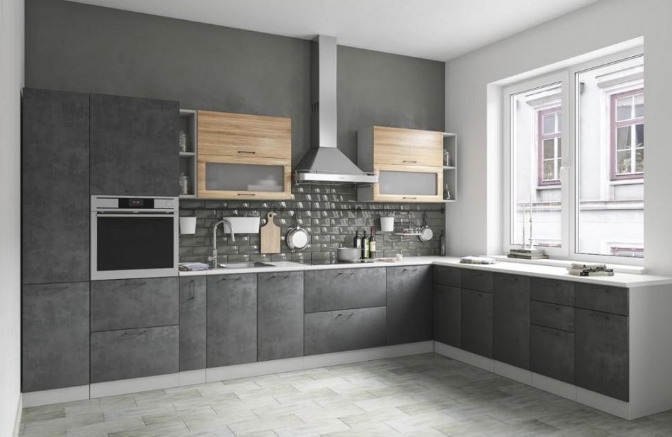 Лофт-кухня в оттенках серого