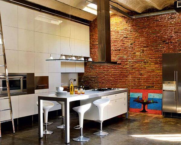 Интерьер кухни с урбанистическими нотками