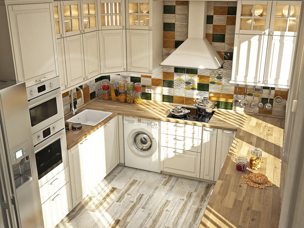 П-образная кухня в светлых тонах