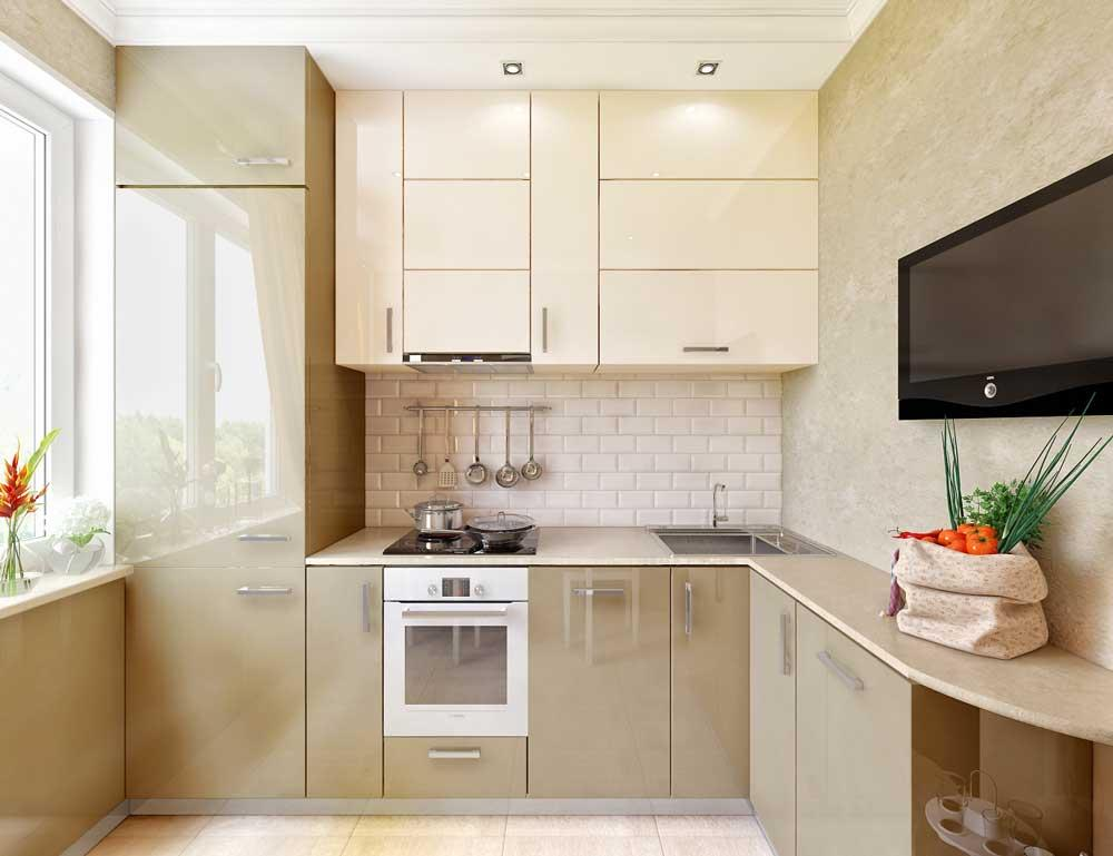 Использование пространства маленькой кухни в 6 кв.м