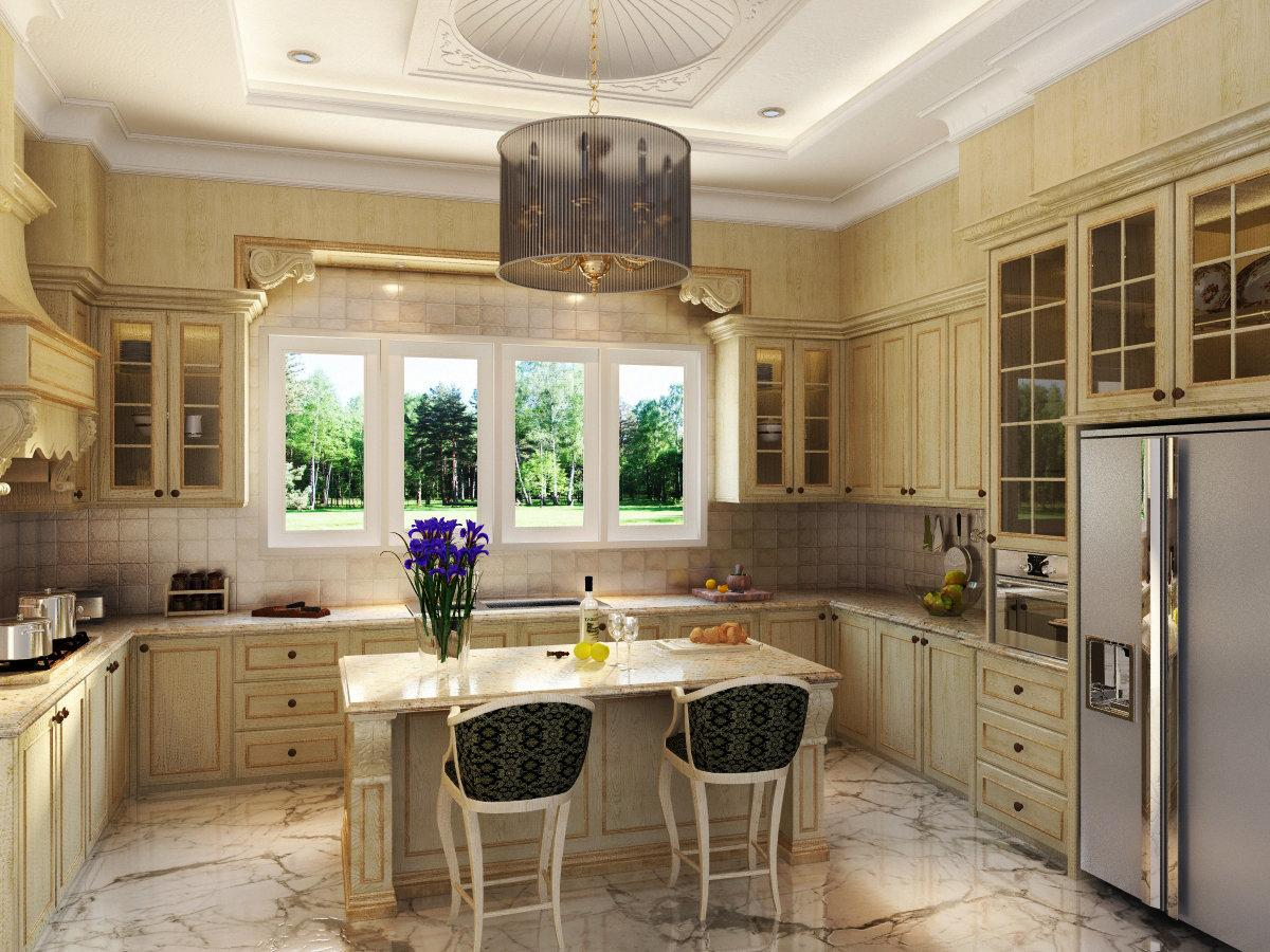 Кухня в классическом стиле, с окном