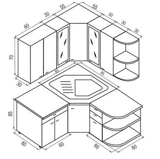 Размеры угловых модулей