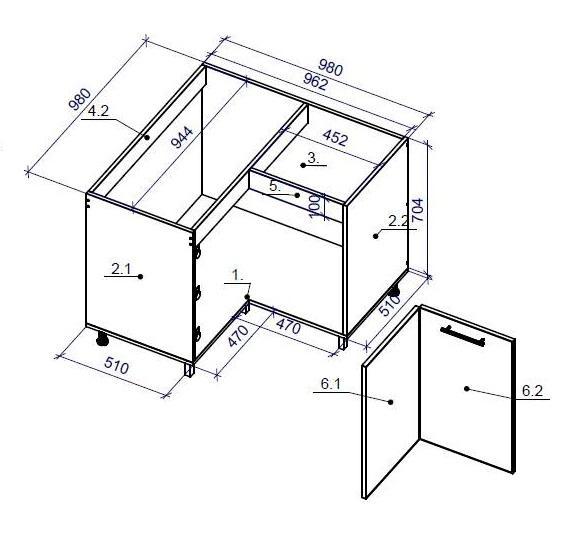 Угловой шкаф с замерами
