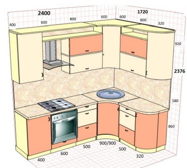 Пример угловой кухни с размерами.