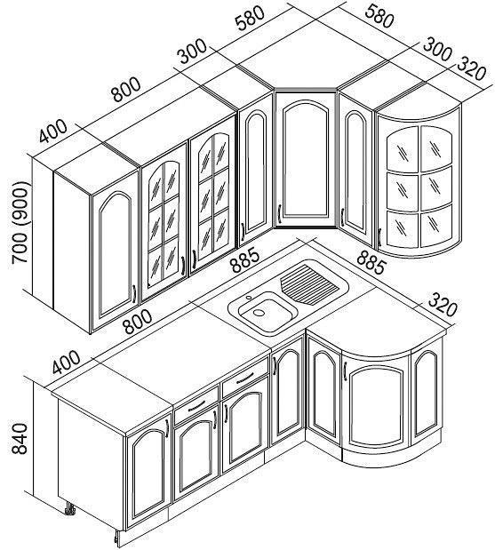 Стандарт размеров кухонных шкафов