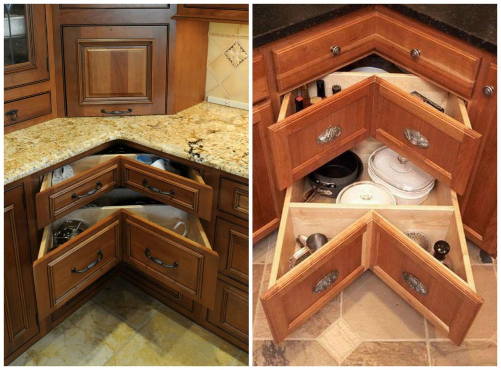 Угловой шкаф с выдвижными ящиками