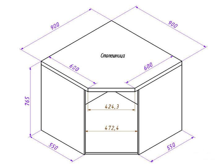 Пятиугольный угловой шкаф