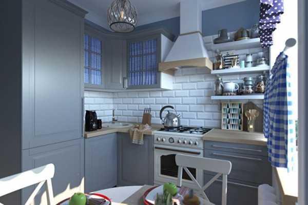 Кухня в серо-голубых тонах