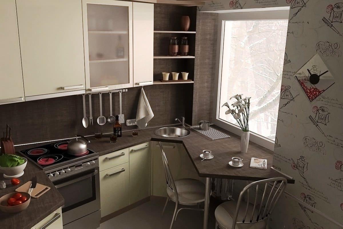 Угловой шкафчик, в интерьере маленькой кухни