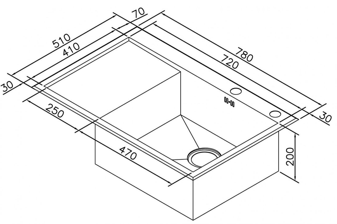 чертеж с размерами раковины 510*720 мм для кухни