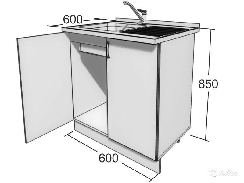 Габариты квадратной тумбы под прямоугольную мойку 600*600 мм
