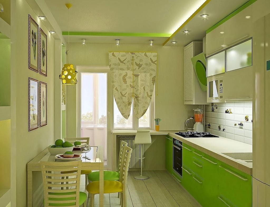Бежевые стены на кухне в сочетании с зелеными модулями