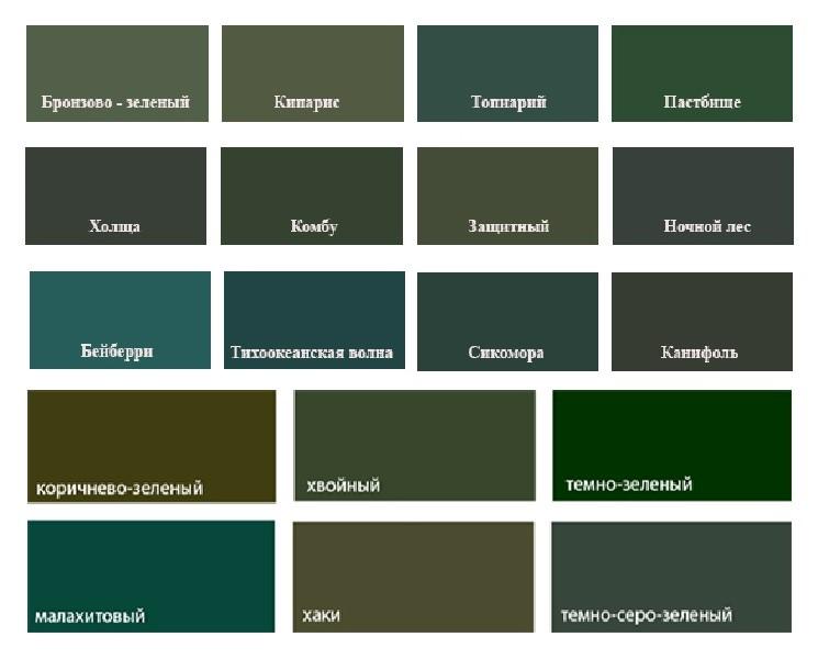 Основные темные оттенки зеленого