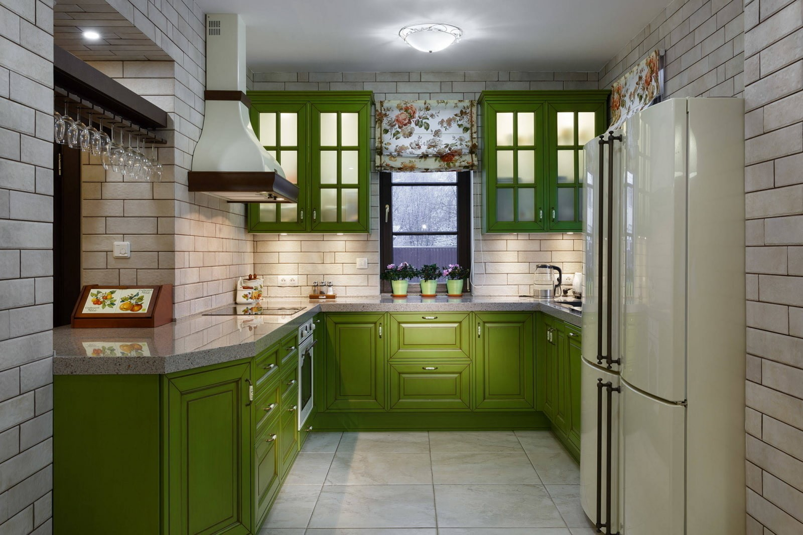 Бело-зеленая кухня - наиболее популярное сочетание