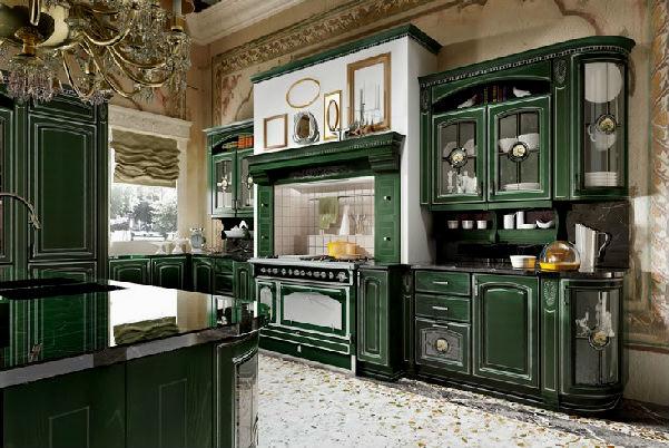 Кухня болотного цвета в классическом силе
