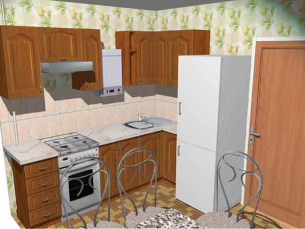 В кухне хрущевке газовая колонка размещена между навесными шкафами, а холодильник у входа