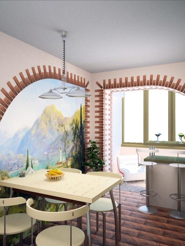 Дизайн кухни с фотообоями на стене и возле стола - выделение обеденной зоны