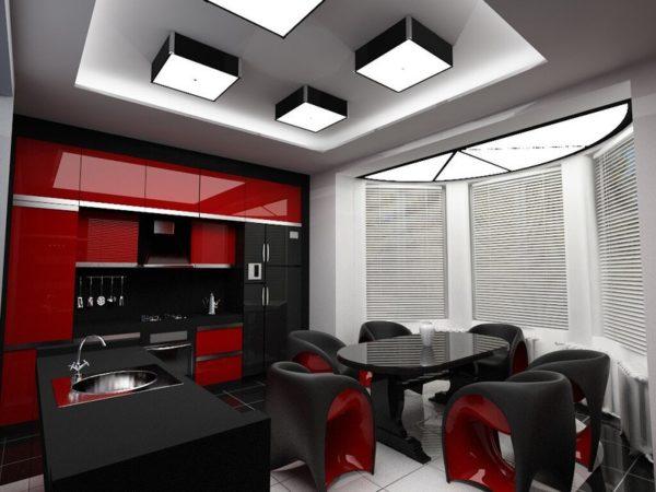 Кухня красная с чёрным - что сделать красным а что черным