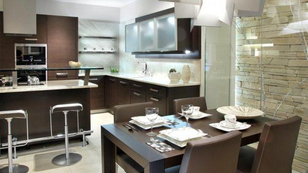 Дизайн кухни венге - стили и сочетание цветов в интерьере