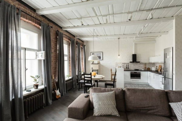 Дизайн штор для кухни-гостиной: как оформить современный стиль