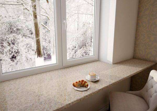 Столешница вместо подоконника на кухне - варианты размещения и дизайна