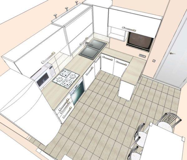 План сверху угловой кухни с барной стойкой