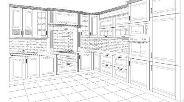 Нарисованный проект кухни