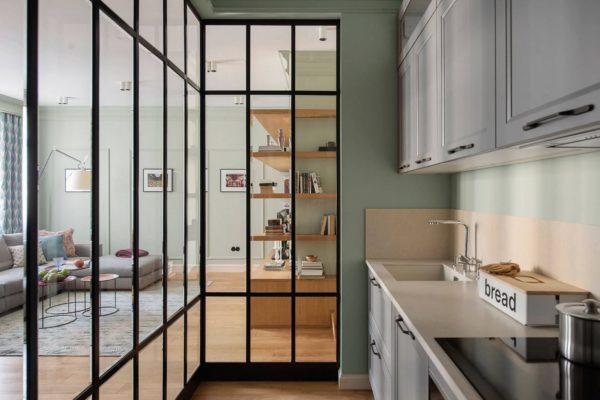 Дизайн декоративной перегородки между кухней и гостиной