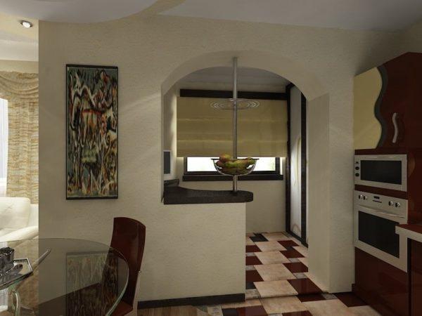 Арка с барной стойкой между лоджией и кухней