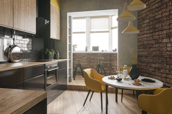 Арочный проем с полочками для хранения кухонных принадлежностей