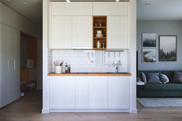 Кухонные шкафчики в нише